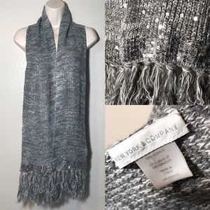 New York & Company Gray knit sequin scarf